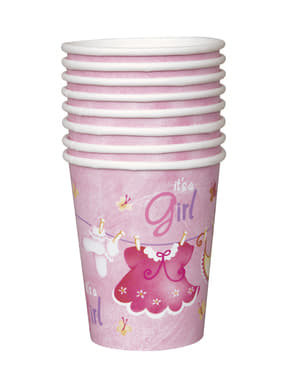 Sada 8 pohárov It's a girl - Clothesline Baby Shower