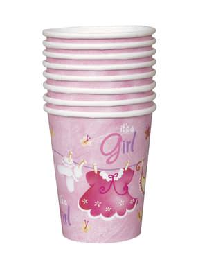 Sæt af 8 It's a girl kopper - Clothesline Baby Shower