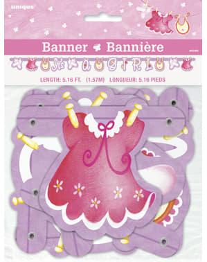 It's a Girl koszorú - Pink Clothesline Baby Shower
