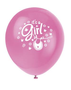 Zestaw 8 różowych balonów To dziewczynka - Clothesline Baby Shower