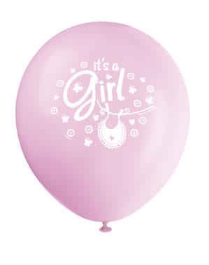 Sæt af 8 pink It's a girl ballonner - Clothesline Baby Shower