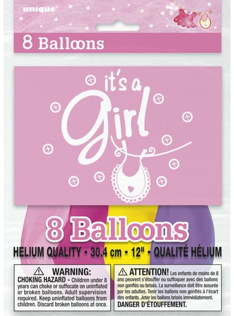 8 globos rosas (30 cm) - Pink Clothesline Baby Shower - barato