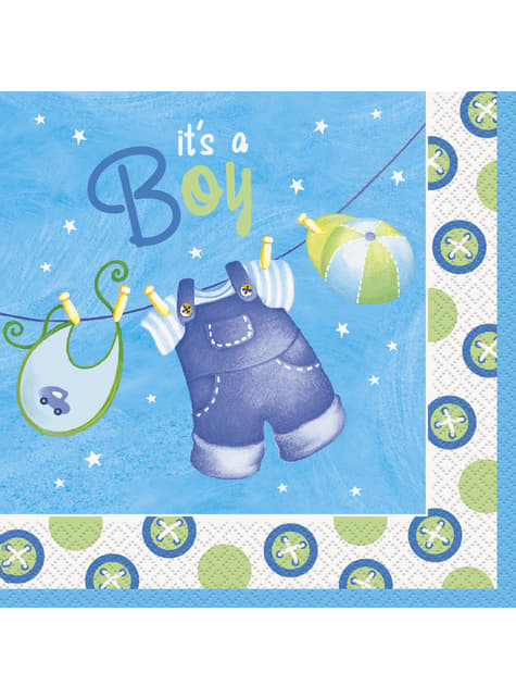 16 grandes Serviettes en papier It's a boy - Clothesline Baby Shower