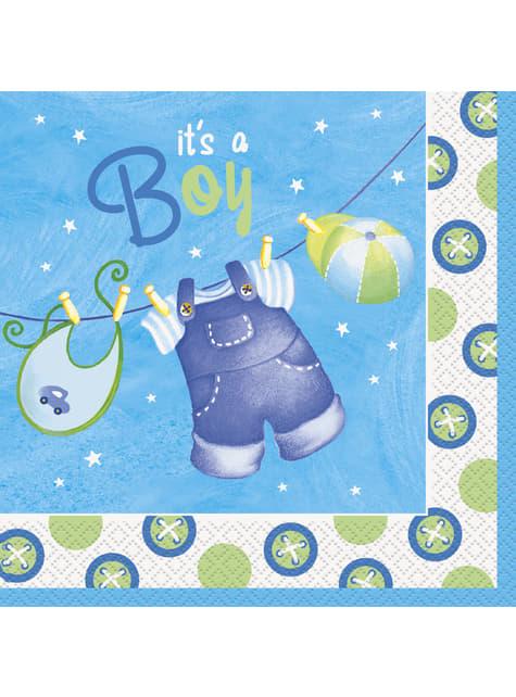 16 grandes serviettes It's a boy - Clothesline Baby Shower