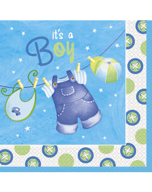 Sett med 16 store It's a boy servietter - Clothesline Baby Shower