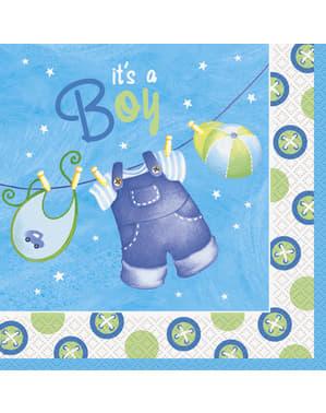 Zestaw 16 dużych serwetek To chłopiec - Clothesline Baby Shower