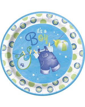 Sett med 8 It's a Boy tallerken - Clothesline Baby Shower