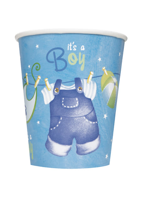 8 vasos It's a boy! - Blue Clothesline Baby Shower