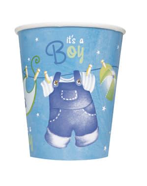 8 db It's a boy pohár - Clothesline Baby Shower