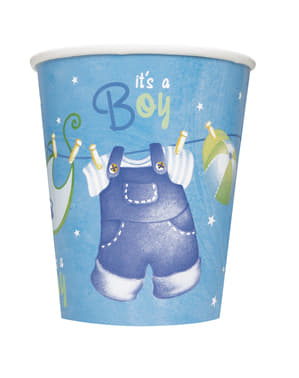 8 It's a boy cups - Clothesline Baby Shower