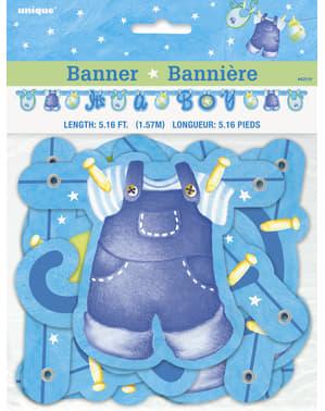 It's a Boy koszorú - Blue Clothesline Baby Shower