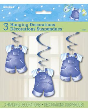 Sett med 3 det er en gutt hengende dekorasjons - Clothesline Baby Shower