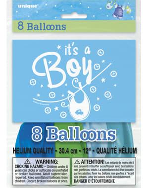 Sett med 8 blå It's a boy ballonger - Clothesline Baby Shower
