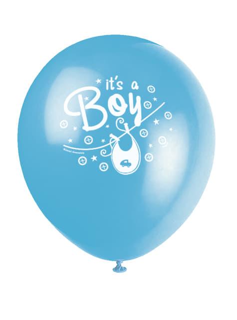 8 balões azuis It's a bo (30 cm) - Clothesline Baby Shower