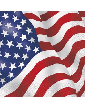 16 serviettes Drapeau USA (33x33cm) - Fête États Unis