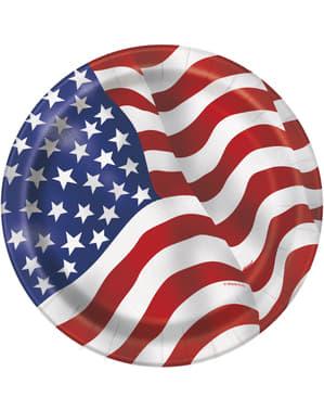 8 petites assiettes Drapeau USA (18cm) -Fête États Unis