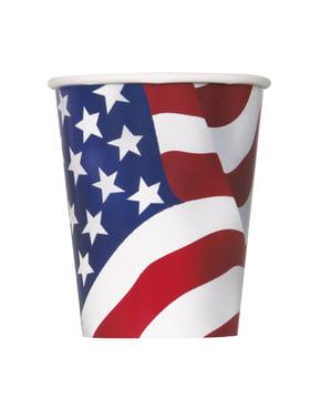8 copos Bandeira USA- Festa Estados Unidos
