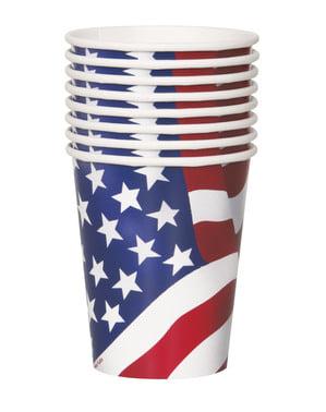 8 gobelets Drapeau USA (18cm) -Fête États Unis