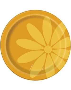8 pratos de sobremes (18 cm) - Summer Flower