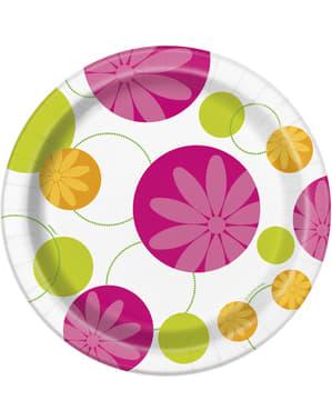 8 platos Flores de Verano (23 cm)