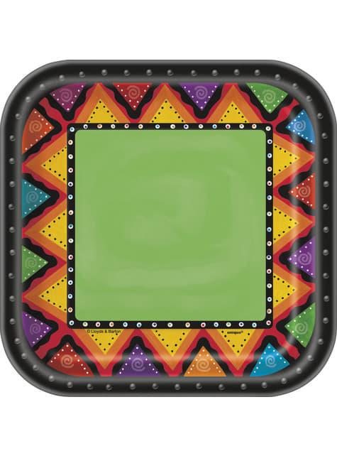 10 kwadratowe talerze deserowe średniej wielkości meksykańskie wzory - Fiestivity