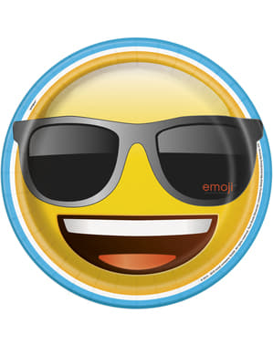 8 platos de emoticono sonriente (23 cm) - Emoji