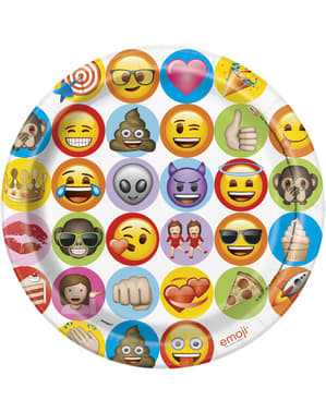 8 pratos grandes de emoticon (23 cm) - Emoji
