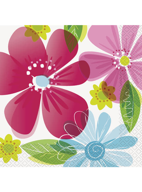 16 grandes Serviettes en papier - Striped Spring Flower