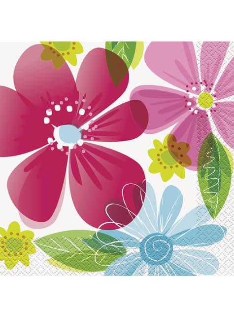 16 grandes serviettes - Striped Spring Flower
