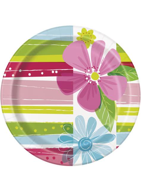 8 platos pequeños (18 cm) - Striped Spring Flower