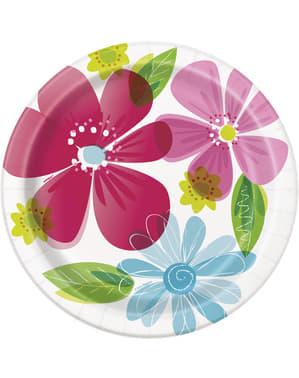 Zestaw 8 talerzy - Striped Spring Flower