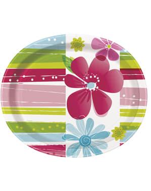 8 kpl soikeaa tarjotinta - Raidalliset Kevät Kukat