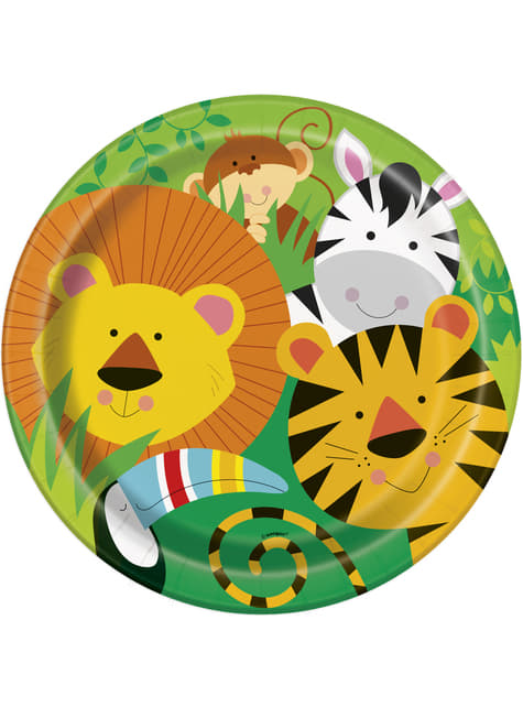 8 platos (23 cm) - Animal Jungle