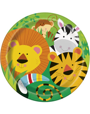 סט 8 צלחות - ג'ונגל בעלי חיים