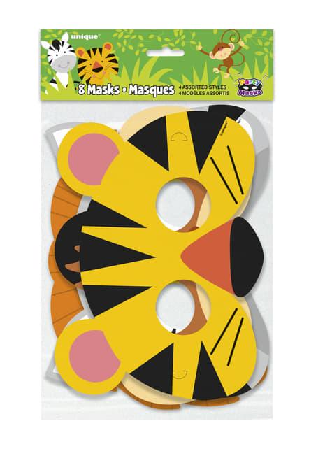 8 antifaces - Animal Jungle - para niños y adultos