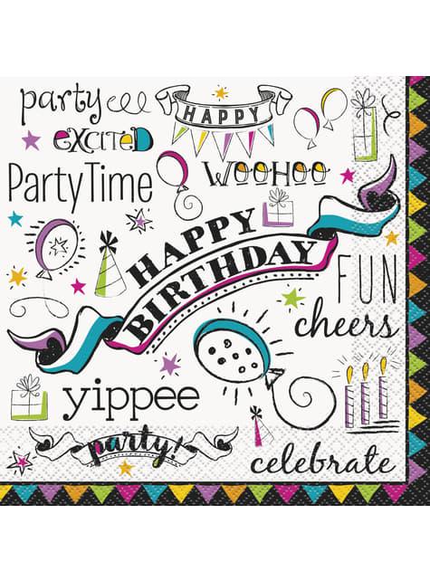 16 grandes serviettes - Doodle Birthday