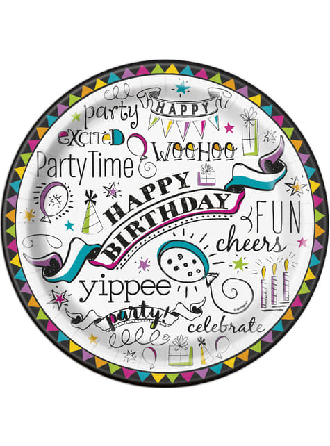 8 assiettes Doodle Happy Birthday