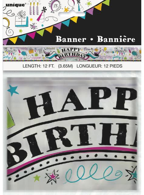 Aluminium Happy Birthday slinger - Doodle Birthday