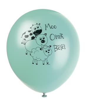 8 globos verdes con animales de granja (30 cm) - Farmyard Party