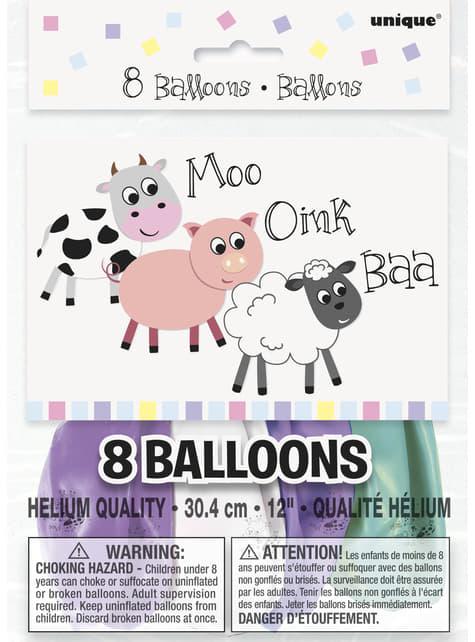 8 globos (30 cm) - Farmyard Party - comprar