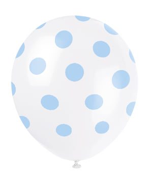 6 globos blancos con topos azules (30 cm)
