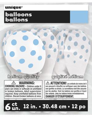 6 balões brancos com pintas azuis (30 cm)