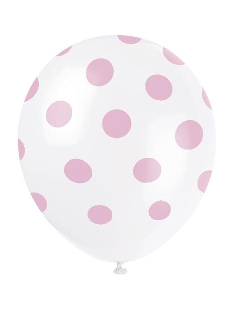 6 globos blancos con topos rosas (30 cm)
