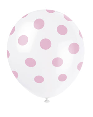 6 white balloons with pink spots (30 cm)