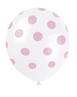 6 witte ballonnen met roze stippen (30 cm)