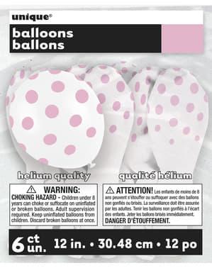 6 balões brancos com pintas cor-de-rosa (30 cm)