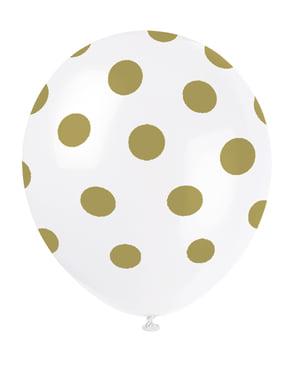 6 ballons blancs à pois dorés