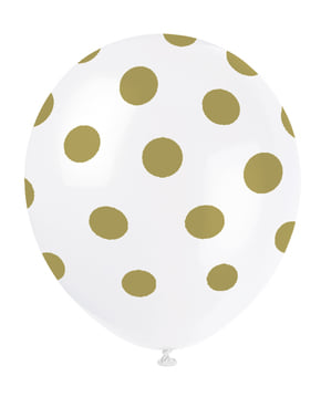 金の斑点と6の白い風船のセット