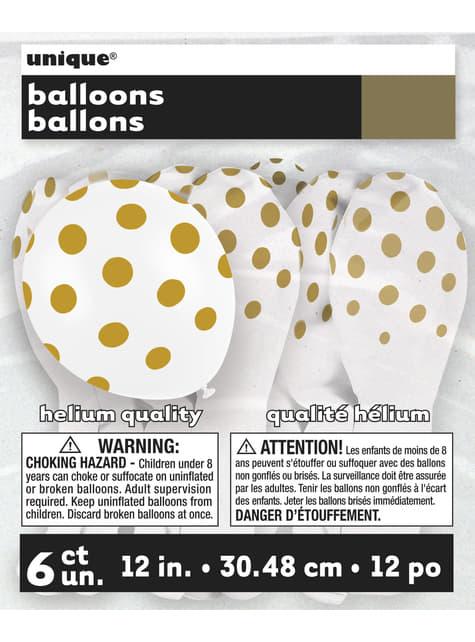 6 globos blancos con topos dorados (30 cm) - para tus fiestas