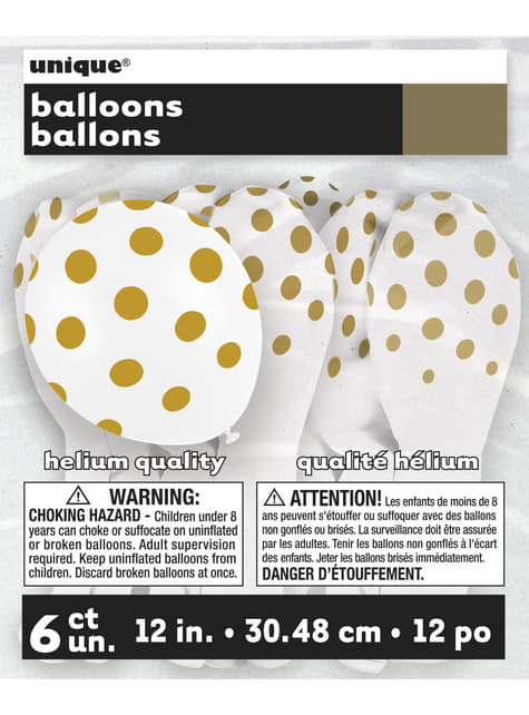 6 white balloons with gold spots (30 cm)